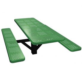 "72"" Single Post Rectangular Picnic Table Perforated Metal"