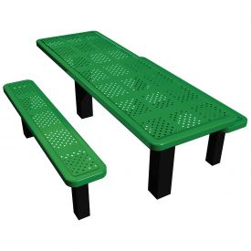 "96"" Permanent Rectangular Picnic Table Perforated Metal"