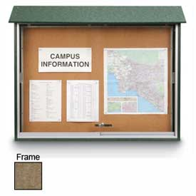 "United Visual Products Sliding-Door Outdoor Message Center - 45""W x 30""H - Weathered Wood"