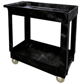 Rubbermaid® 9T66 Economical Tray Shelf Black Plastic Service Cart 34x16