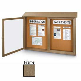 "United Visual Products Double-Door Outdoor Message Center - 45""W x 30""H - Weathered Wood"