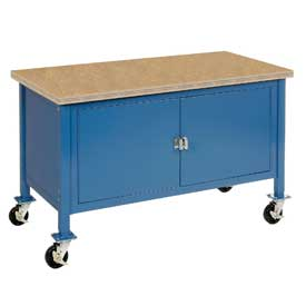 "72""W x 30""D Mobile Workbench with Security Cabinet - Shop Top Square Edge - Blue"