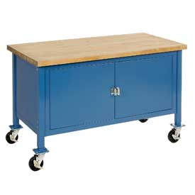 "60""W x 30""D Mobile Workbench with Security Cabinet - Maple Butcher Block Square Edge - Blue"
