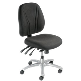 Multifunctional Office Chair - Fabric - Mid Back - Black Seat Silver Base