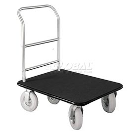 Glaro Bellman Hotel Truck 35x25 Satin Aluminum 1 Handle Black Carpet, Pneumatic Wheels
