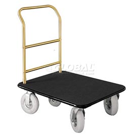 Glaro Bellman Hotel Truck 35x25 Satin Brass 1 Handle, Black Carpet, Pneumatic Wheels