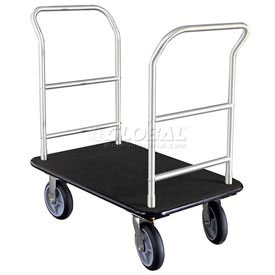 Glaro Bellman Hotel Truck 35x25 Satin Aluminum 2 Handle, Black Carpet, Rubber Wheels