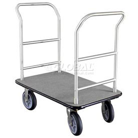 Glaro Bellman Hotel Truck 35x25 Satin Aluminum 2 Handle, Gray Carpet, Rubber Wheels