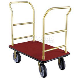 Glaro Bellman Hotel Truck 35x25 Satin Brass 2 Handle, Burdundy Carpet, Rubber Wheels