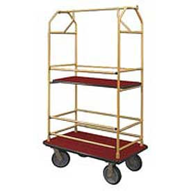 Glaro Bellman Condo Cart 40x25 Satin Brass Burgundy Carpet, 4 Rubber Wheels