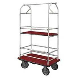 Glaro Bellman Condo Cart 48x25 Satin Aluminim Burgundy Carpet, 4 Rubber Wheels
