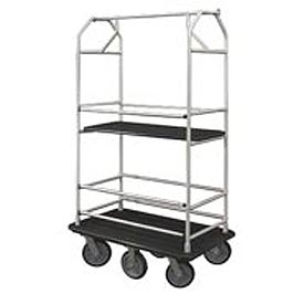 Glaro Bellman Condo Cart 48x25 Satin Aluminum Black Carpet, 6 Rubber Wheels