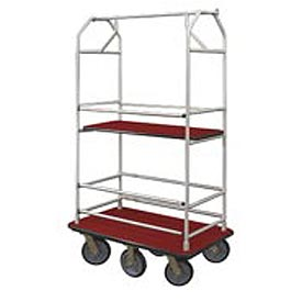 Glaro Bellman Condo Cart 48x25 Satin Aluminum Burgundy Carpet, 6 Rubber Wheels