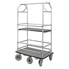 Glaro Bellman Condo Cart 48x25 Satin Aluminum Gray Carpet, 6 Pneumatic Wheels