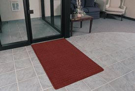 "Rubber Backed Barrier Rib Entrance Mat 3'X4' 3/8"" Thick Red/Black"
