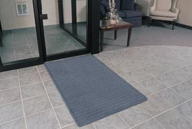 """Rubber Backed Barrier Rib Entrance Mat 3'X5' 3/8"""" Thick Slate Blue"""