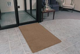"Rubber Backed Barrier Rib Entrance Mat 4'X6' 3/8"" Thick Brown"