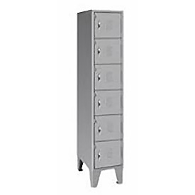 Pucel Extra Wide Welded Steel Lockers Six Tier 18x18x72 Gray