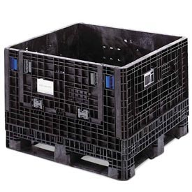 ORBIS BulkPak KD4845-25BLACK Folding Bulk Shipping Container 48 x 45 x 25 1500 lb Capacity Black