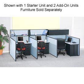 "Interion™ Pre-Configured Call Center Add-On, 48""W x 48""D, Blue"