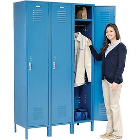 Extra Wide Single Tier Locker 15x18x72 1 Door Pull Latch Assembled Blue