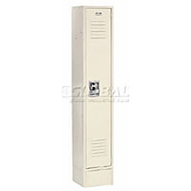 Extra Wide Single Tier Locker 15x18x72 1 Door Recessed Assembled Tan