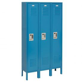 Extra Wide Single Tier Locker 15x18x72 3 Door Recessed Assembled Blue