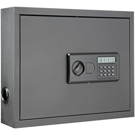 """Wall-Mount Laptop Security Cabinet, 19-3/4""""W x 4-3/4""""D x 15-3/4""""H, Gray"""