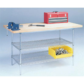 "60"" W x 30"" D Wire Stationary Workbench Plastic Laminate Square Edge Top"