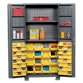 "Jamco Bin Cabinet GR236KN - 14 Gauge Welded with 64 Bins And Shelves Deep Door, 36""W x 24""D x 78""H"