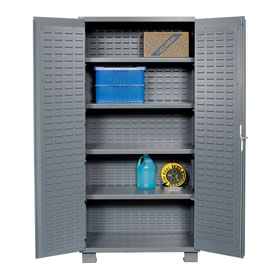 "Jamco Bin Cabinet GR236KZ - 14 Gauge Welded with Louvered Panels, Shelves, Flush Door, 36""x 24""x78"""