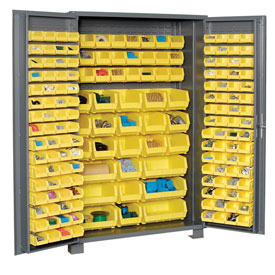 "Jamco Bin Cabinet GS248KCGP - 14 ga. Welded with 176 Bins Deep Door, 48""W x 24""D x 78""H"
