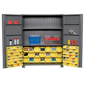 "Jamco Bin Cabinet GR260KL - 14 Gauge Welded with 91 Bins And Shelves Deep Door, 60""W x 24""D x 78""H"