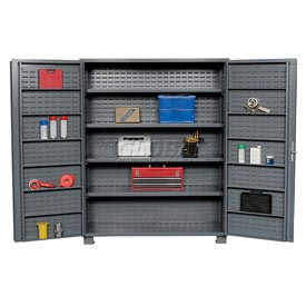 "Jamco Bin Cabinet GR260KV - 14 Gauge Welded with Louvered Panels And Shelves Deep Door, 60"" W"