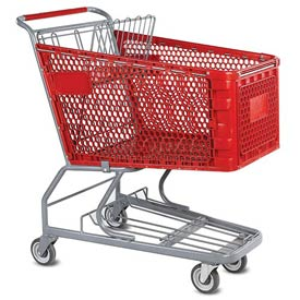 VersaCart® Red Plastic Shopping Cart 6.3 Cu. Foot Capacity 102-165-RED-BH