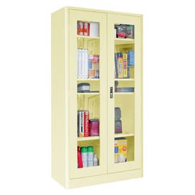Sandusky Elite Radius Edge Series Clearview Storage Cabinet ER4V362472 - 36x24x72, Putty