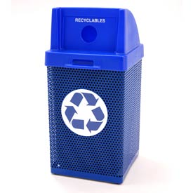 Recycling Trash Can with Logo - Blue