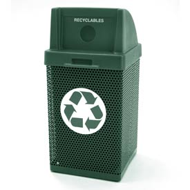 Recycling Trash Can with Logo - Green