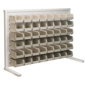 Akro-Mils Ready Space Single Sided Bench Rack 98536210SS With 48 Beige AkroBins 30210
