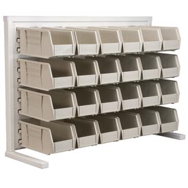 Akro-Mils Ready Space Single Sided Bench Rack 98536230SS With 24 Beige AkroBins 30230