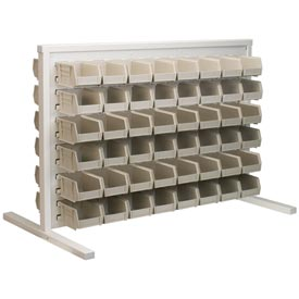 Akro-Mils Ready Space Double Sided Bench Rack 98536220SD With 48 Beige AkroBins 30220