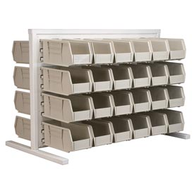 Akro-Mils Ready Space Double Sided Bench Rack 98536230SD With 48 Beige AkroBins 30230