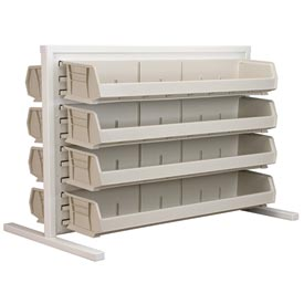 Akro-Mils Ready Space Double Sided Bench Rack 98536320SD With 8 Beige AkroBins 30320