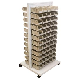 Akro-Mils Ready Space Mobile Floor Rack 30553210S With 120 Beige AkroBins 30210