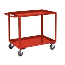 Jamco Red All Welded 2 Shelf Stock Cart SB248 48x24 1200 Lb. Cap.