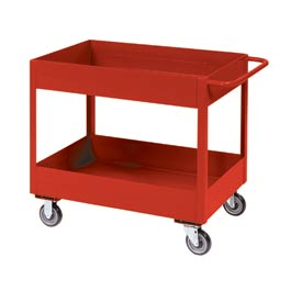 "Jamco Red All Welded 3"" Deep Shelf Cart LT236 2400 Lb. Cap. 36x24"