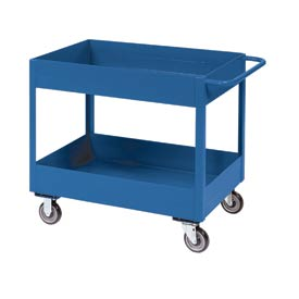 "Jamco Blue All Welded 3"" Deep Shelf Cart LT248 2400 Lb. Cap. 48x24"