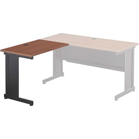 Interion™ Left Handed Return Table - Cherry Top & Charcoal Base