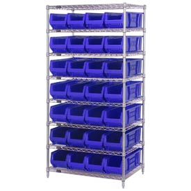 "Quantum WR8-970 Chrome wire Shelving With 28 30""D Hopper Bins Blue, 30x36x74"