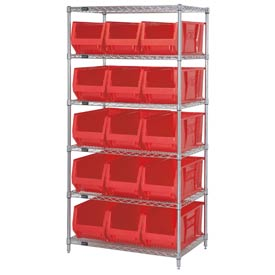 "Quantum WR6-973 Chrome wire Shelving With 15 30""D Hopper Bins Red, 30x36x74"